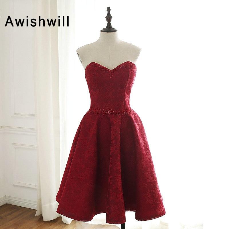 Custom Made Burgundy Short   Prom     Dress   A-line Beadings Lace Party Evening Gown Women Vestido de Festa Curto