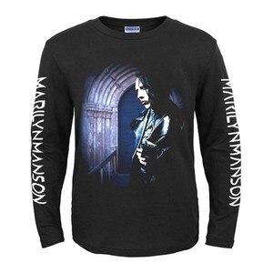 Image 3 - Bloodhoof Marilyn Manson Industriële Metal Death Metal Rock Mannen Zwarte Nieuwe Lange Mouw T shirt Aziatische Grootte
