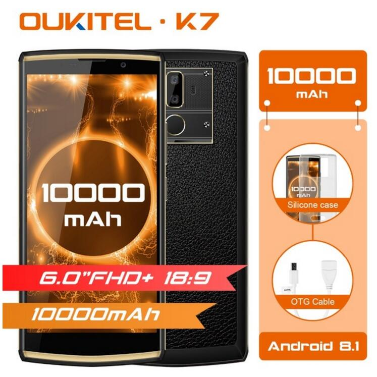 "OUKITEL K7 6.0""FHD+ 18:9 Screen MT6750T Octa Core Mobile Phone 4GB+64GB Android 8.1 OTG 10000mAh 13MP Dual Cam Fingerprint Phone"