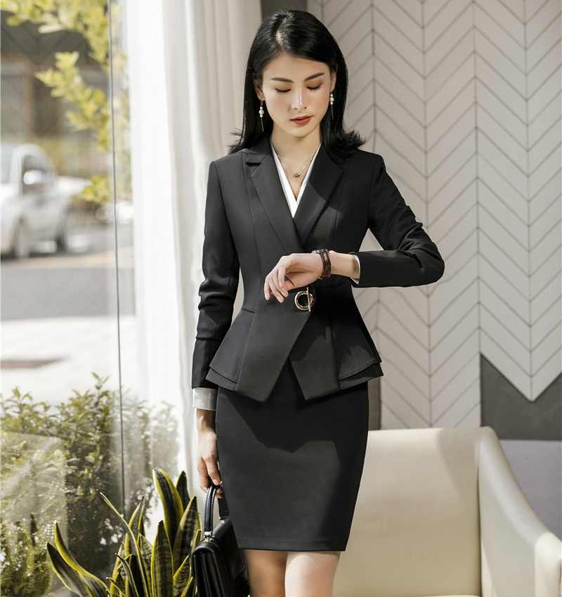 8c5320761862d Ladies Office Uniform Designs Business Suits With Skirt and Tops Autumn  Winter Fashion Wine Formal Work Wear Sets Blazer