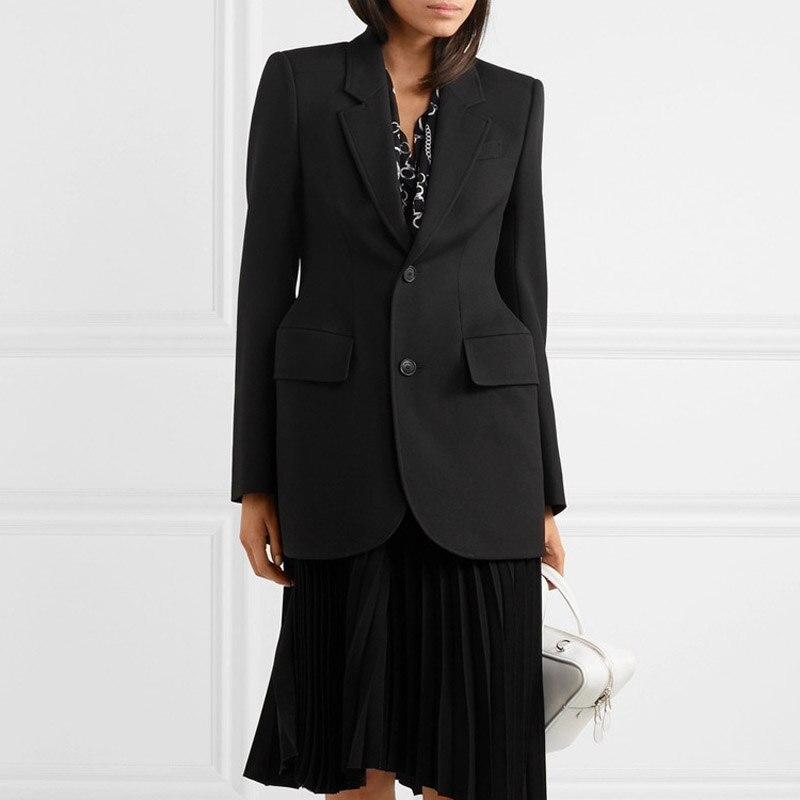 2019 jesień nowy mody kobieta Blazers płaszcz z długim rękawem Slim talia pojedyncze łuszcz przycisk solidna czarne płaszcze w Marynarki od Odzież damska na  Grupa 1