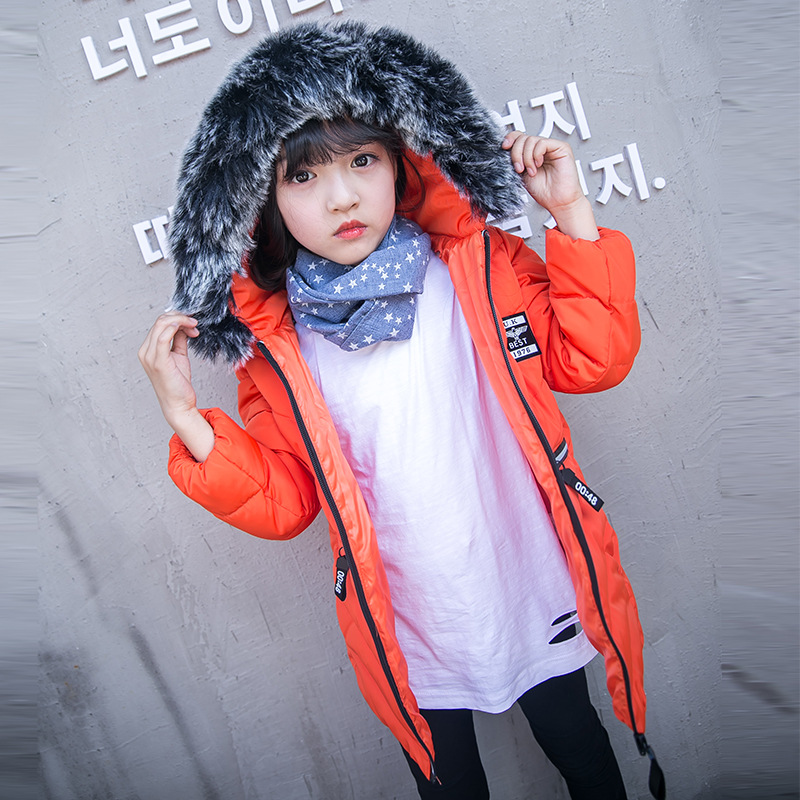 Children's heavy hair collar cotton-padded jacket parkas boys girls hoods thickened autumn winter long solid color coat jacket stand collar 3d stars and striped print zip up padded jacket