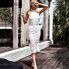 GACVGA 2018 encaje blanco Vestidos de fiesta las mujeres ahuecan hacia  fuera Halter cuello Sexy vestido de verano señoras sin ma. 51fff8e09a7c