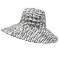 Women's Summer Flat Top Bucket Hat with Stripe pattern Large wide brim Sunscreen Boonie Hat Trip Leisure Beach Anti UV Sombrero