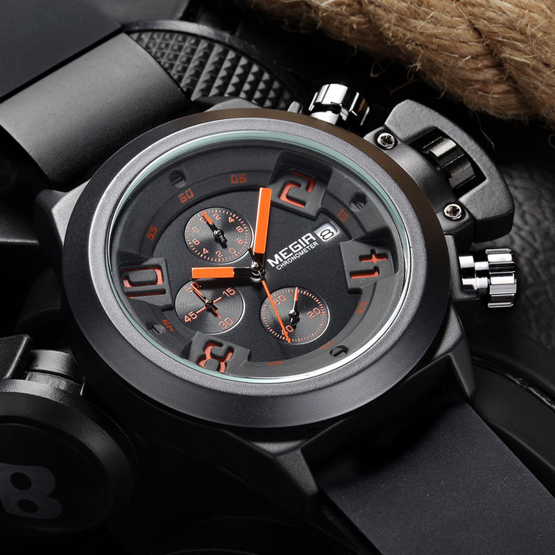 MEGIR CHRONOGRAPH Sport Function Mens Watches Top Brand Luxury Silicone Wrist Watches Men Male Quartz Watch relogio masculino reef tiger brand men s luxury swiss sport watches silicone quartz super grand chronograph super bright watch relogio masculino