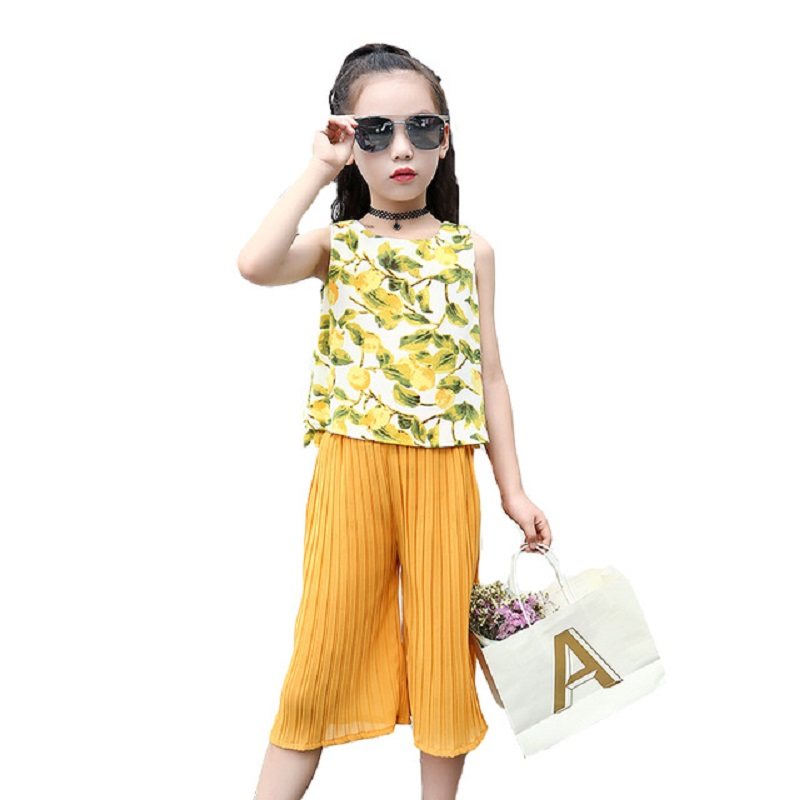 Summer Girls Clothing Floral Set Kids Chiffon Suit 2Pcs Sleeveless Top & Flared Pants Children Clothes For 2 4 6 7 8 10 12 Years new fashion girls clothing kids clothes summer style sleeveless tops pants 2 pcs casual children suit 3 4 5 6 7 years