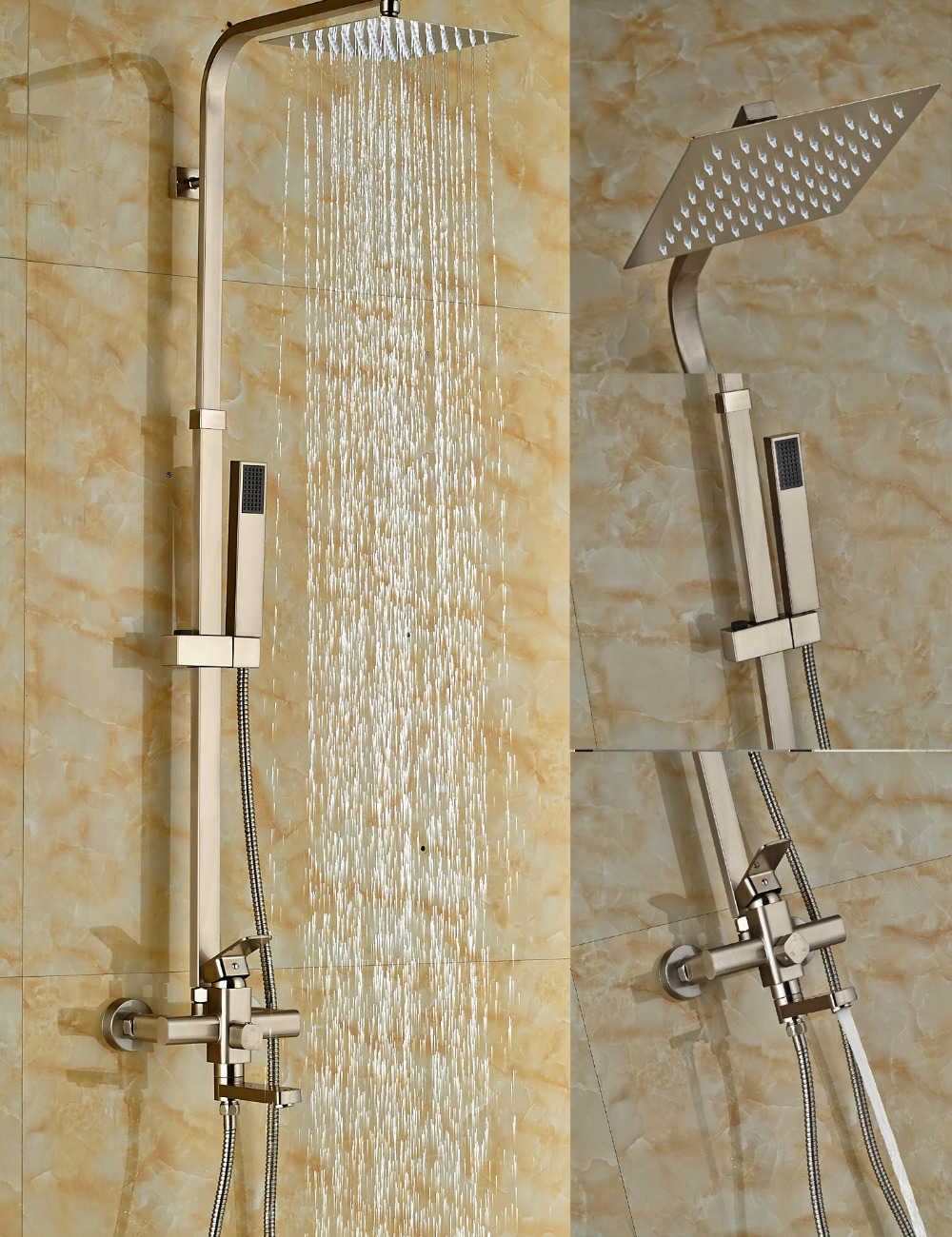 Wholesale And Retail Nickel Brushed Square Rain Shower Head Wall Mounted Mixer Tap Sprayer Tub Spout Hand Shower