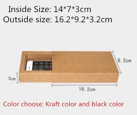 25pcs/lot-14*7*3cm Blank Black Kraft Paper Drawer Box Handmade Soap Craft Jewel Macaron Packaging Party Gift Boxes