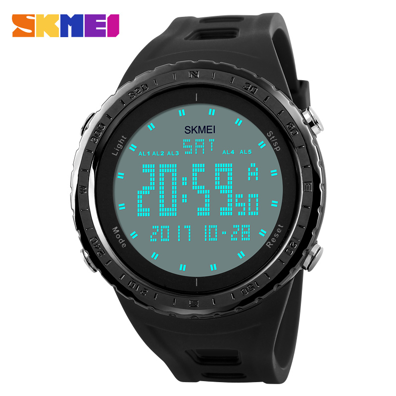 SKMEI Men Sports Watches Double Time Countdown 5Alarm Watch LED 50M Water Resistant Digital Wristwatches Relogio Masculino 1246