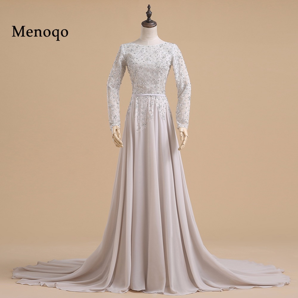 Real Sample A line Beaded Long sleeve Chiffon 2019 sexy backless   prom     dresses