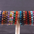 "Stretch 10mm Round Beads Natural Agate Sandstone Turquoise Lapis Jade Carnelian Opal Garnet Amethyst Bracelet 8"" 10Pcs H1721"