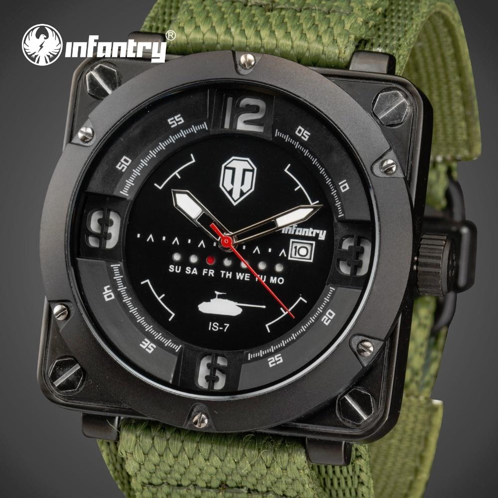 ФОТО INFANTRY Men Sports Military Quartz Watches Top Luxury Brand Square Face Waterproof Clock Nylon Strap Wrist watch World Of Tanks
