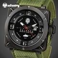 INFANTRY Men Sports Military Quartz Watches Top Luxury Brand Square Face Waterproof Clock Nylon Strap Wrist watch World Of Tanks