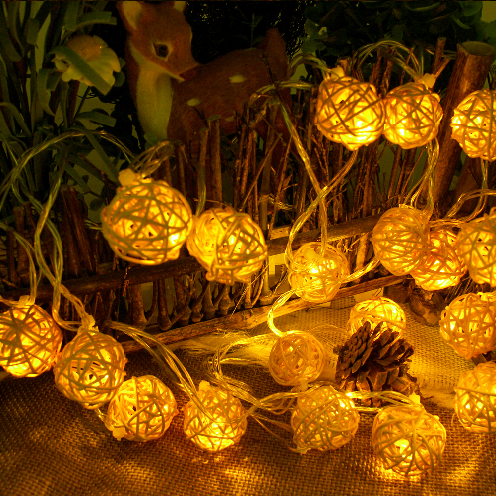 Christmas String Lights Indoor : 5m 20 Rattan Ball christmas Led string light indoor party home Wedding decoration fairy lights ...