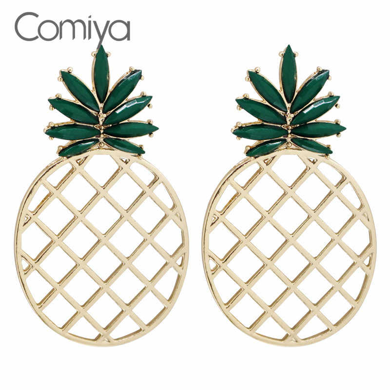Comiya Stud Earrings Zinc Alloy Acrylic Mosaic Pineapple Fruite Accessories Brincos Earring Brinco Femme Fashion Jewelry Bijoux