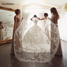 Romantic Luxury Wedding Veil Lace Beaded Applique One Tier 3 meters Long Bridal Veil with Comb White Ivory Wedding Accessory люстра arte lamp a5700lm 5wh
