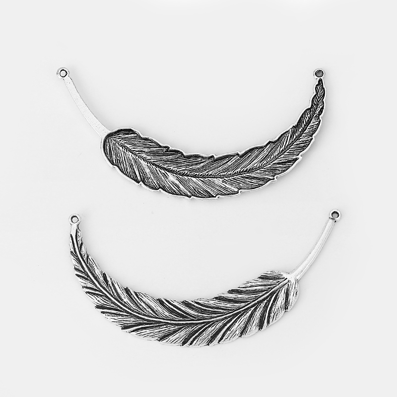 10pcs Antique Silver Alloy Large Feather Leaf Charms Pendants Connector For Necklace Jewelry Making Findings 94x18mm in Jewelry Findings Components from Jewelry Accessories