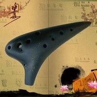 Comparar 12 agujeros Alto C Ocarina Flauta de arcilla Flauta instrumentos musicales clásicos con bolsa