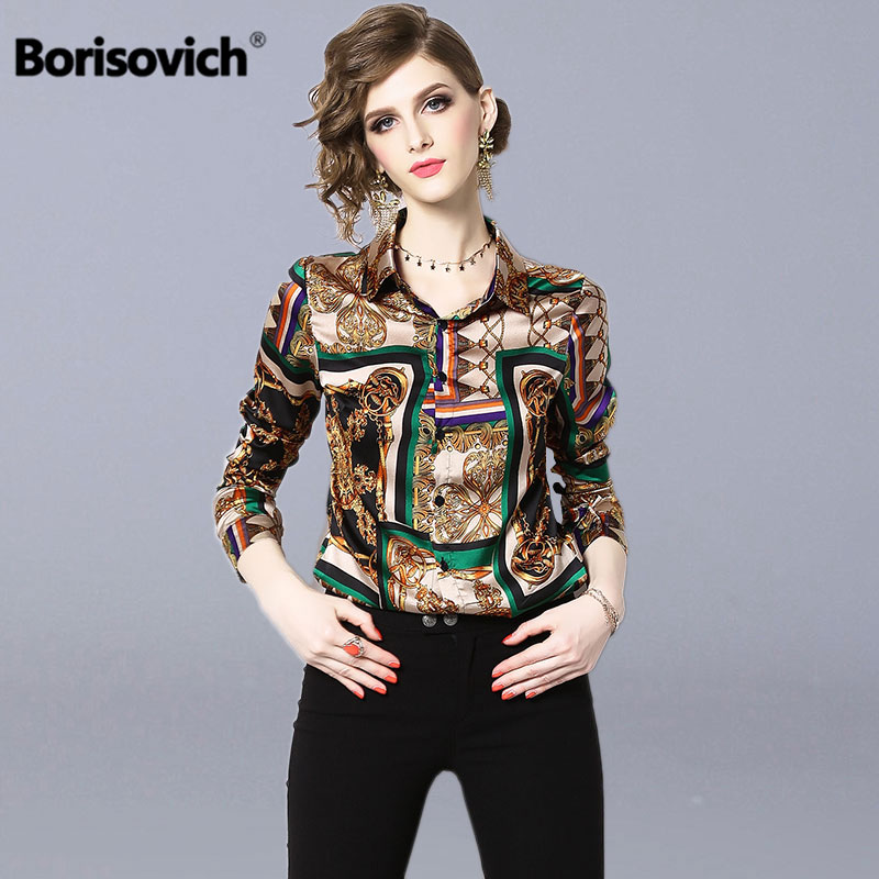 Borisovich Vintage Print Women Casual   Blouses     Shirts   New 2019 Spring Fashion Turn-down Collar Office Lady Elegant   Shirt   N891