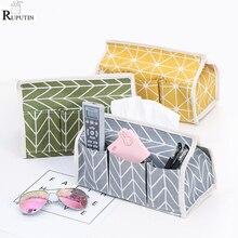 Купить с кэшбэком New Cotton Linen Paper Towel Box Multifunction Tissue Paper Towel Set Desktop Debris Storage Box Home Car Napkin Paper Container