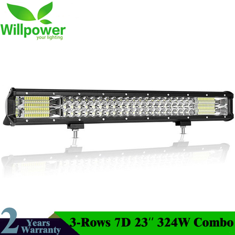 Willpower 23 Inch 324W Offroad LED-Bar 7D 3-Row LED Light Bar Combo Beam Driving Work Lightbar For Truck SUV ATV 4x4 4WD 12V 24V