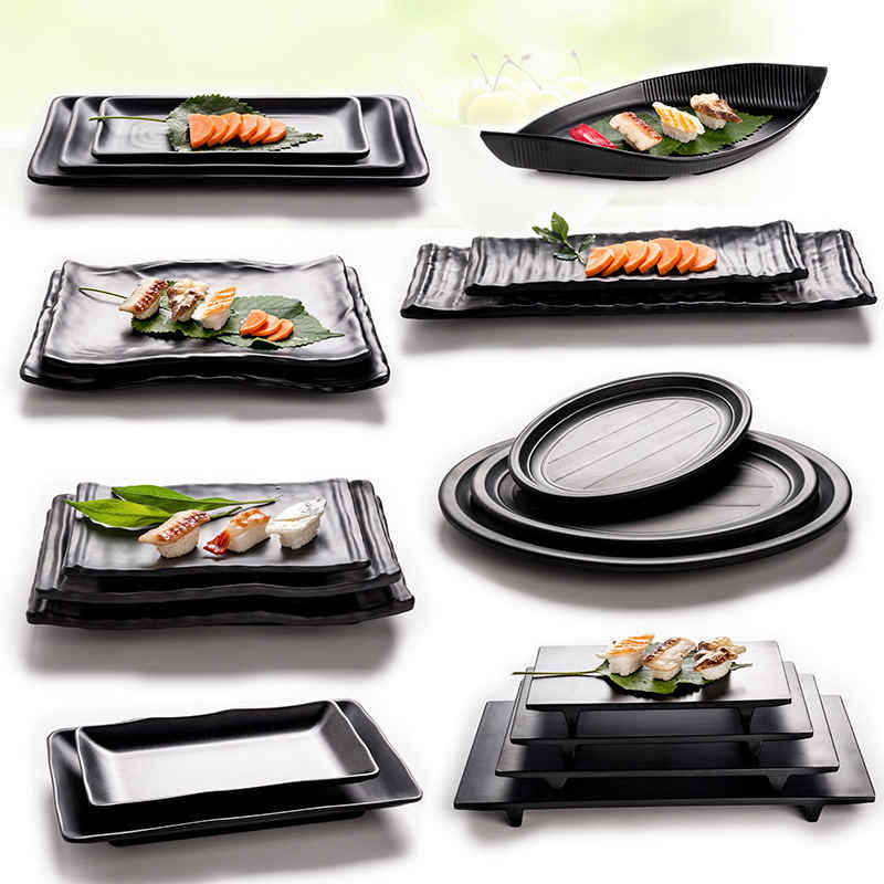 Hot Sale Japan Style Black Melamine Plate Dish For Sushi Meat Beef Steak Seasoning Hot Pot Shop Buffet BBQ Kitchen Use 1 PC