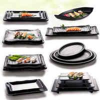 Hot Sale Japan Style Black Melamine Plate Dish For Sushi Meat Beef Steak Seasoning Hot Pot Shop Buffet BBQ Kitchen Tableware 1pc