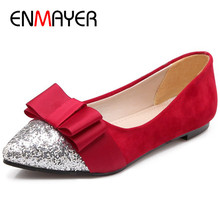 ENMAYER Bowties Shoes Woman Red Loafers Flats Plus Size 34-47 Pointed Toe Slip-on Summer Ladies
