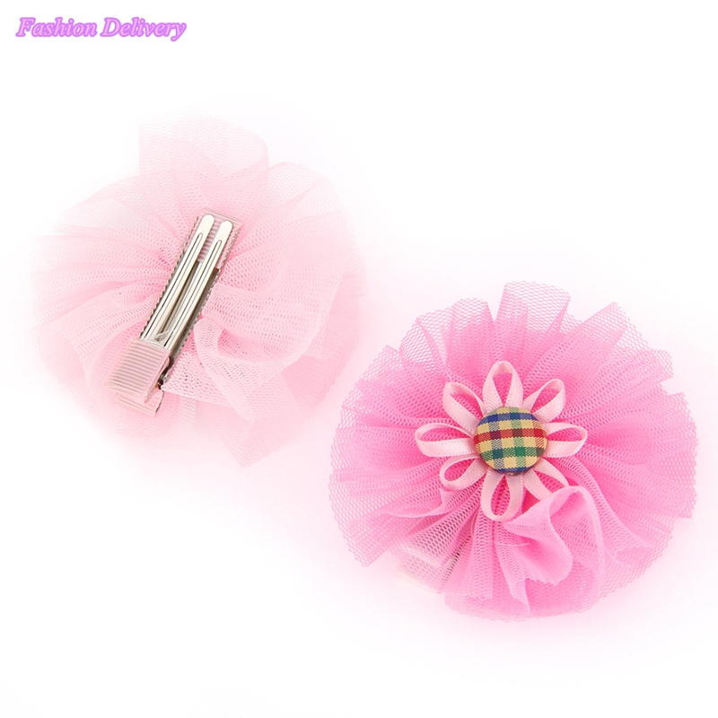 2pc lot Kids Sunflower Hairpins Button Ribbons Lace Floral Hair Clips BB Clip Korea Style Girls