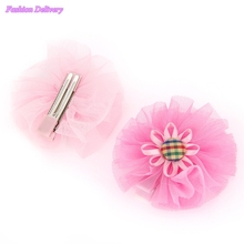 2pc/lot Kids Sunflower Hairpins Button Ribbons Lace Floral Hair Clips BB Clip Korea Style Girls Hair Styling Acccessories