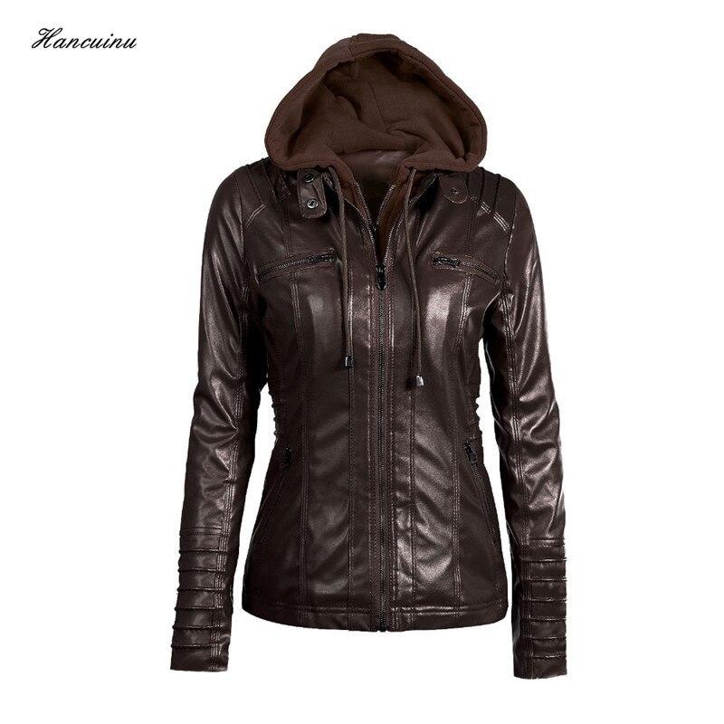 Hancuinu Plus Size Leather Jacket Women 2018 Autumn Winter Outerwear Coat Lady PU Leather Clothing Female Motorcycle Jackets