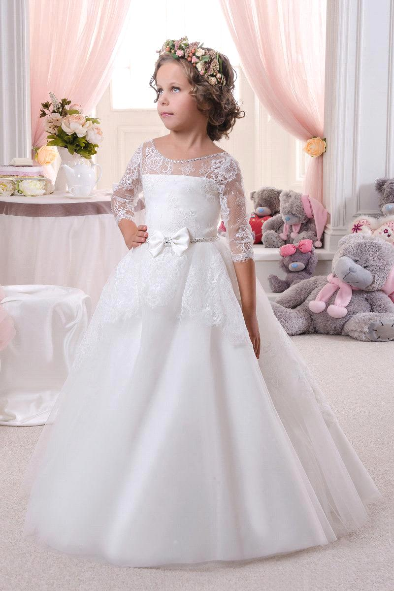 Kids First Communion   Dresses   Vestidos 2017 New White Ivory Lace   Flower     Girls     Dress   with Half Sleeves Lace Up Back Pageant Gowns