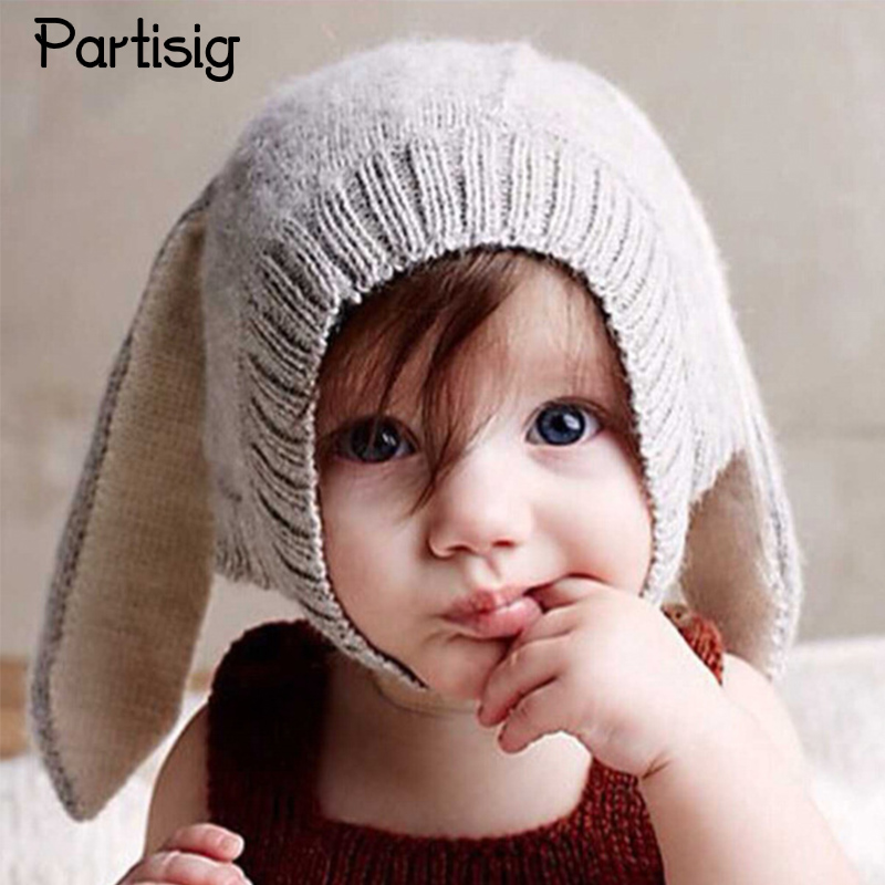 Partisig Brand Rabbit Ears Winter Warm Baby Hats Children Crotched Winter  Animal Hats Super Cute Baby Caps 09a0413de6f