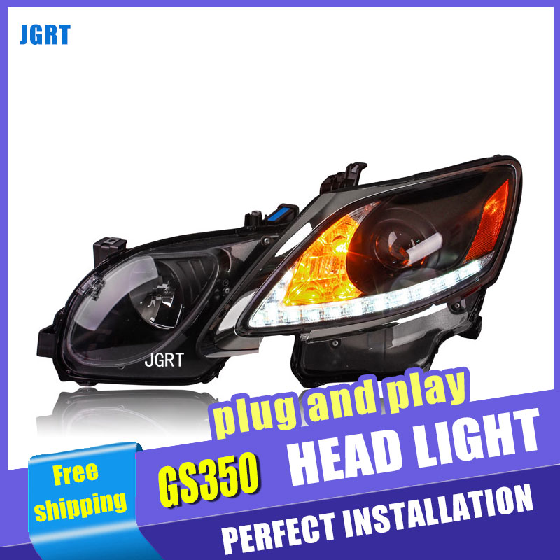 Car Styling For GS350 headlight assembly 2006-12 For GS350 LED head lamp Angel eye led DRL front light h7 with hid kit 2pcs