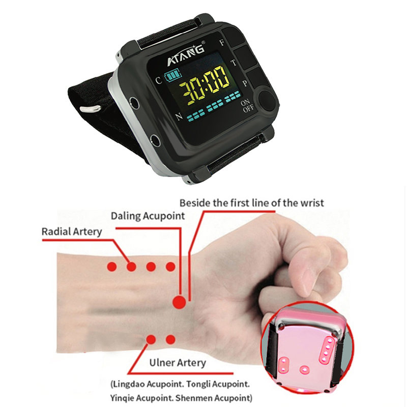 ATANG Diabetic Rhinitis Cholesterol Hypertension Watch Laser Acupuncture Therapy High Blood Pressure Laser Watch Varicose Veins