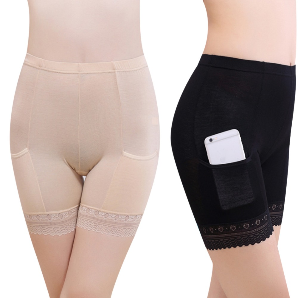 2019 Boxer Femme Women Soft Cotton Lace Seamless Safety Short Pants Summer Under Skirt Shorts Modal With Pockets Short Tights