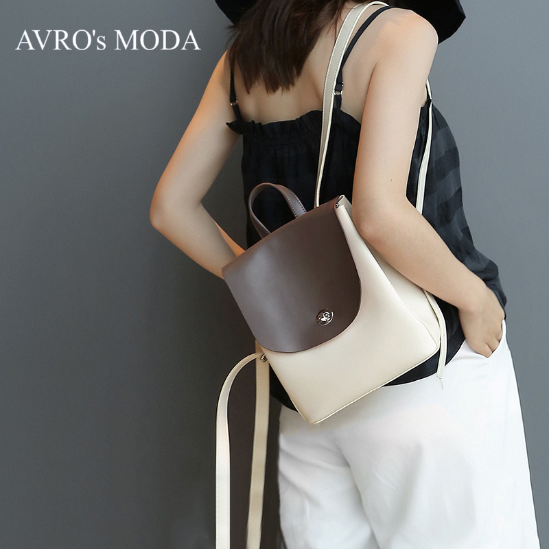 AVRO s MODA Brand genuine leather backpack for women 2019 luxury bags designer ladies small fashion