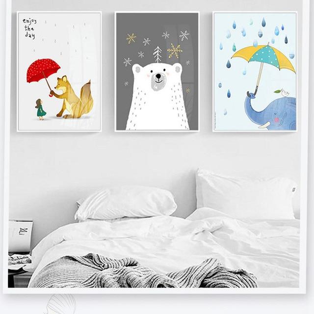Cartoon Fresh Animal Fox Opening An Umbrella For Girl Bear Simple Illustration Living Room Decorative