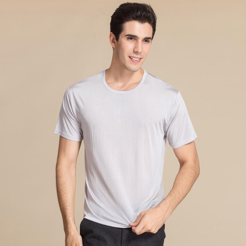 100% PURE soie Top Grade T-shirt à manches courtes T-shirt hommes d'âge moyen en soie tricot grande taille chandail