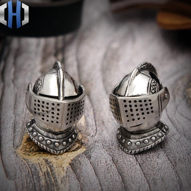 Hand Carvings Medieval Knights Helmets EDC Umbrella Pendant Pendant Flashlight Handmade DIY Pendant Knife Beads