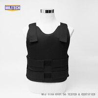 Militech Black NIJ IIIA 3A Concealable Aramid Kevlar Bulletproof Covert Ballistic Bullet Proof Vest Low Profile