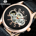 2017 FORSINING brand men fashion casual Watches men Skeleton Mechanical Hand Wind black Leather Wristwatches relogio masculino