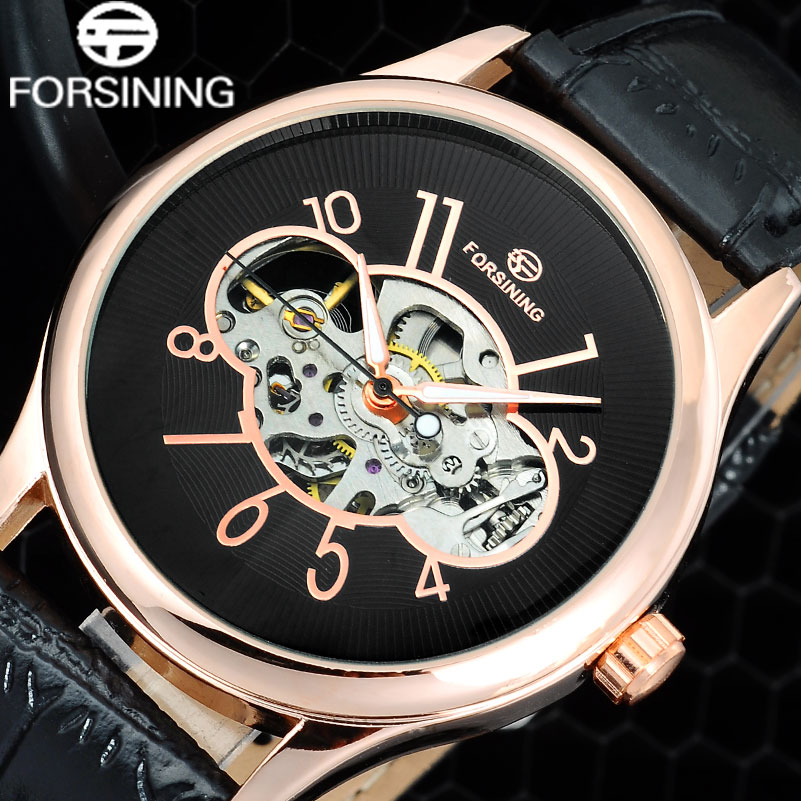 FORSINING 2017 Brand Men Fashion Casual Watches Men Skeleton Mechanical Hand Wind Black Leather Wristwatches Relogio Masculino forsining brand trendy automatic mechanical watches men skeleton dial stylish dress wristwatches with leather band