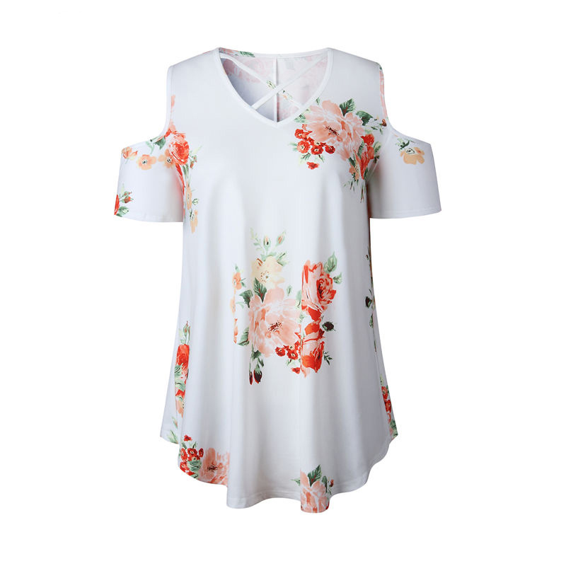 LOSSKY 2018 Summer Flower Print T-shirt Off Shoulder Women Tops White Casual V-Neck Short Sleeve T-Shirts Female T shirt Women