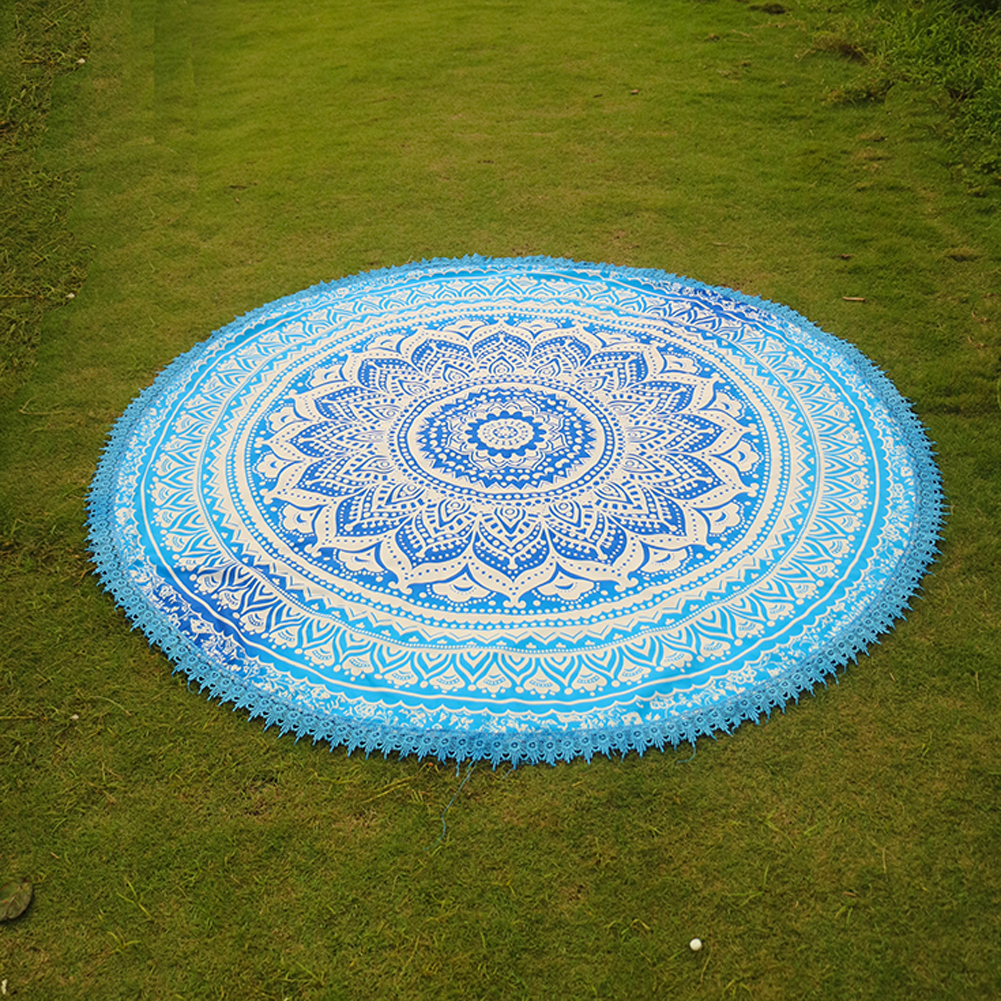 Handmade Summer Beach Towels Floral Printed Lace Tassels Round Blanket Bath Towel Swim Cover-ups High water absorbent Yoga Mat 2