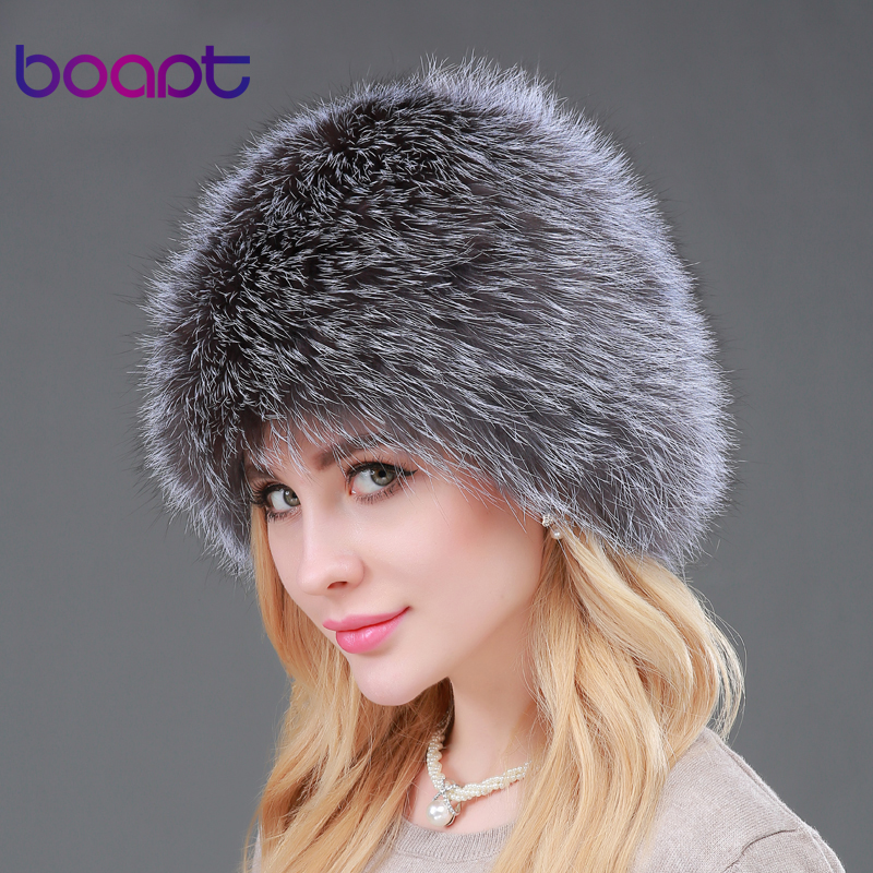 [boapt] High quality women winter hats genuine fox fur hats knitted silver fox fur caps female caps skullies beanies autumn winter beanie fur hat knitted wool cap with silver fox fur pompom skullies caps ladies knit winter hats for women beanies