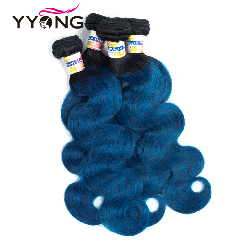 Yyong Non-Remy Malaysian Body Wave Pre-Colored Blue Human Hair Extensions Dark Roots T1B/Blue Ombre Hair Weave Bundles 12-24Inch