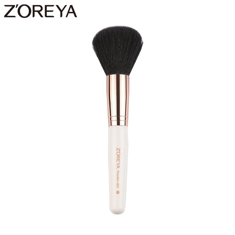 Zoreya Brand New 1pcs Sale White Handle Makeup Powder Brush Black Synthetic Hair make up brush tool