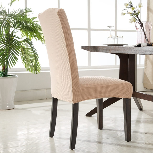 Dining Table Chair Slipcovers romanzo quality knitted fabric spandex chair cover one piece