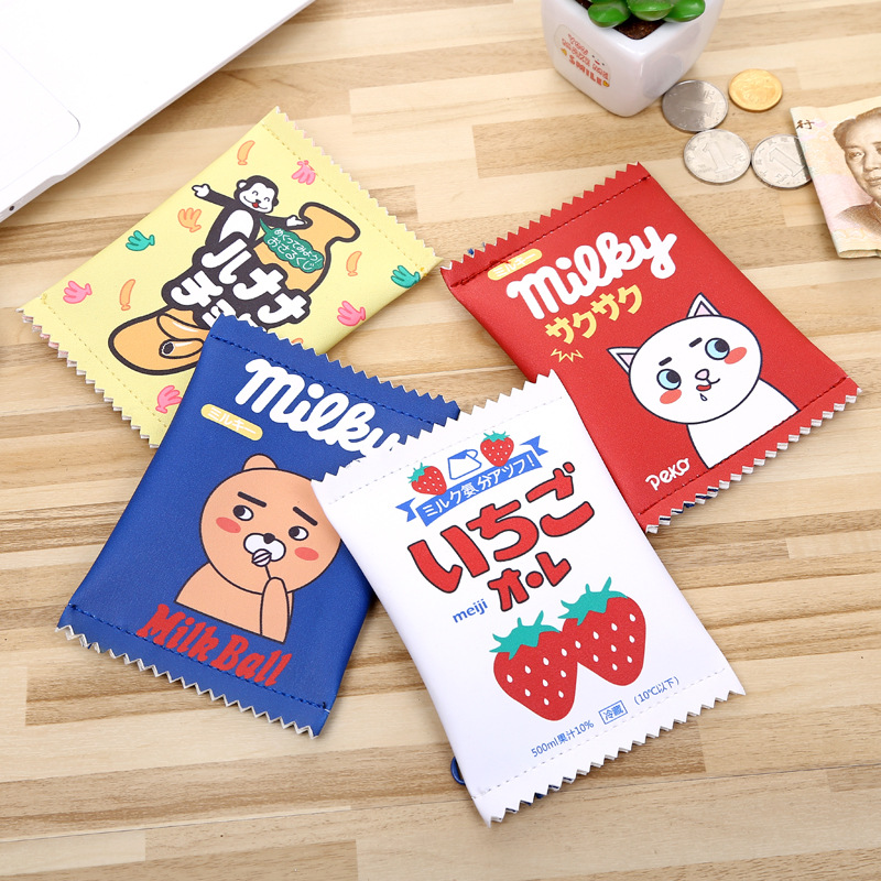 PACGOTH Creative PU Leather Square Cartoon Coin Purse Korean Style Cute Cartoon Animal Prints Coin Bag Unisex Wallet&Holder 1 PC pacgoth creative pvc waterproof cute